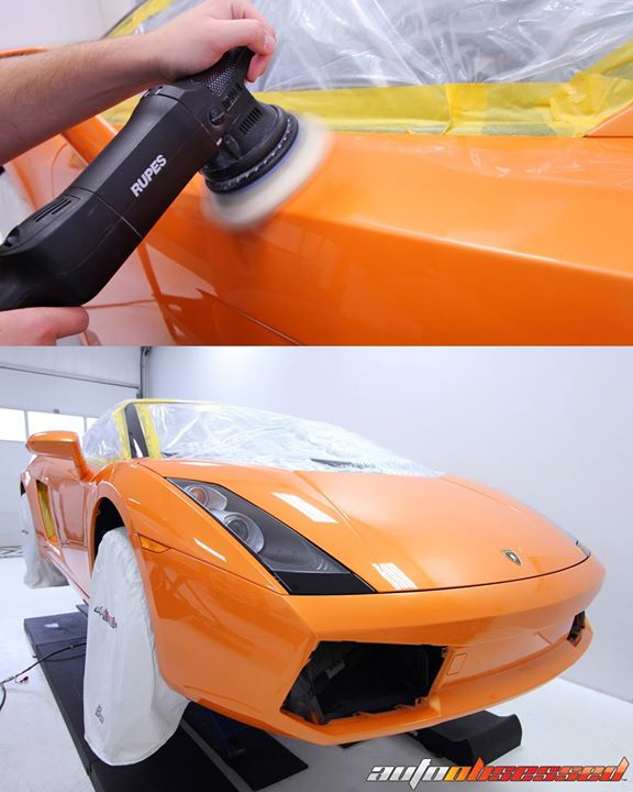 This 2007 Lamborghini Gallardo safely masked up and undergoing paint correction polishing to bring its finish back to a perfect shine.
