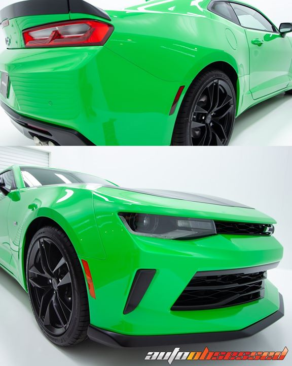 Crazy gloss on this 2018 Camaro (color is Krypton Green). The car got paint protection film and Swissvax OBSSSSD Luxury Carnauba Show Wax after a deco