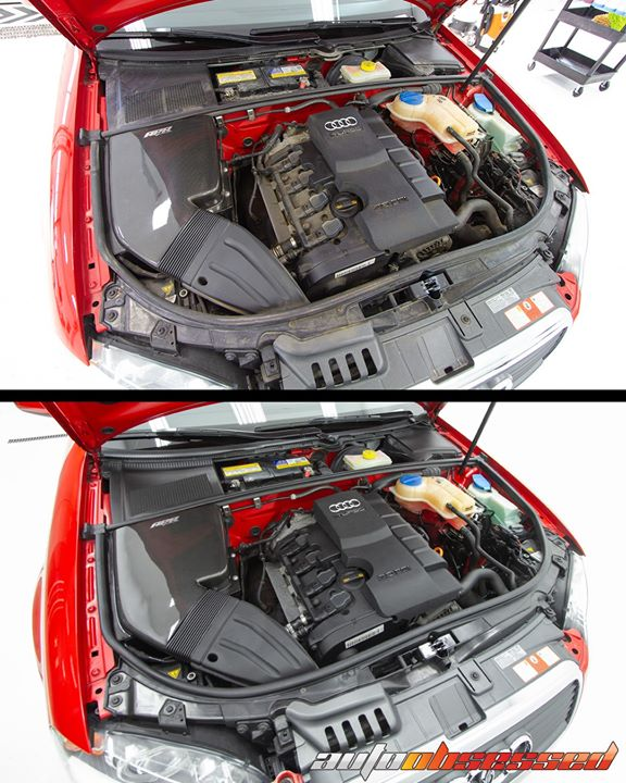 Recommended tools to clean an engine compartment (like this 2007 Audi A4 Avant).