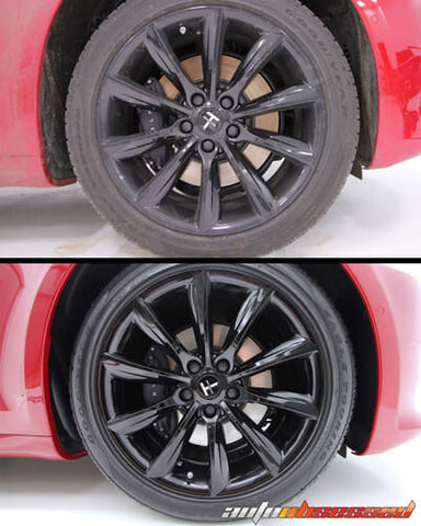 Before and after deep wheel cleaning