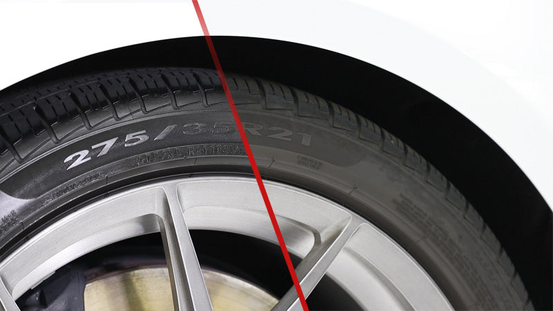 Before-and-after comparison photo with rubber tire and CarPro Blackout coating