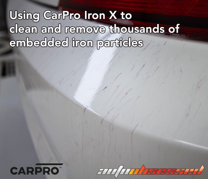 Using CarPro Iron X to remove embedded particles from white car