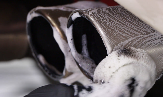 Cleaning black carbon buildup from edge of stainless steel exhaust tip