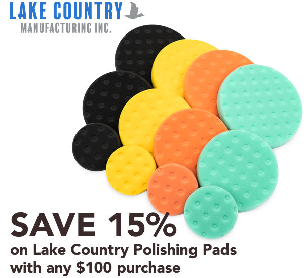 Lake Country polishing pads with Bonus Discount Code
