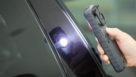 Inspecting scratches and defects in car paint using Scangrip LED light