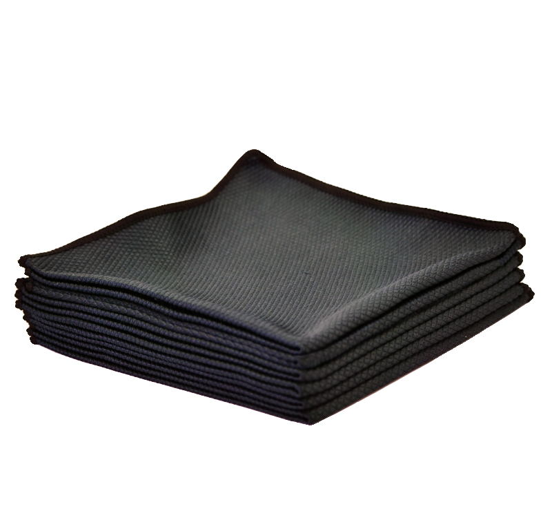 "Microfiber The Rag Company The Black Diamond 16"" x 16"" Microfiber Glass Towel"