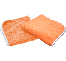 "Load image into Gallery viewer, The Rag Company Wizard Premium Plush Microfiber Polishing Towel Orange 16"" x 16"" - Auto Obsessed"