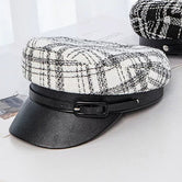 New Fashion Military cap Female Autumn Winter Hats For Women Classic Black And White lattice Berets Leather Stitching Flat Cap