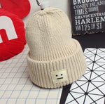 1 Pcs Korean Square Smiling Face Knitted Caps Autumn Winter Brand Skullies Beanies Lovers Hats For Women And Men 4 Colors