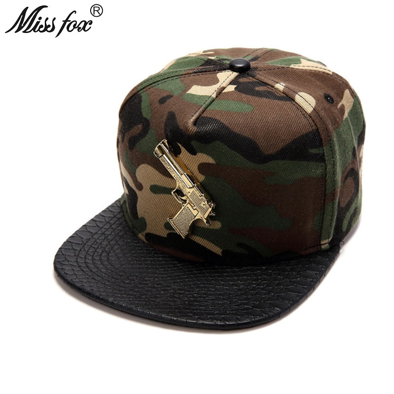 Missfox Hip Hop 18k Gold Plated Gun Mens Hats Army Summer Hat Black Flat Brim Camouflage Mens Hats And Caps