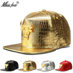 Missfox Hip Hop Women Mens Hat Highly Polished Cow Streetwear Hat Crocodile Pattern Pu Leather Western Mens Hats And Caps