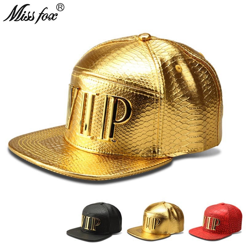 Missfox Hip Hop Vip Mens Hat Flat Brim Streetwear Hat Gold Crocodile Pattern Hipster Mens Hats And Caps