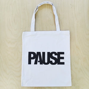 PAUSE - White Tote Bag *SALE*