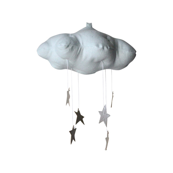 cloud mobile (blue with silver stars)