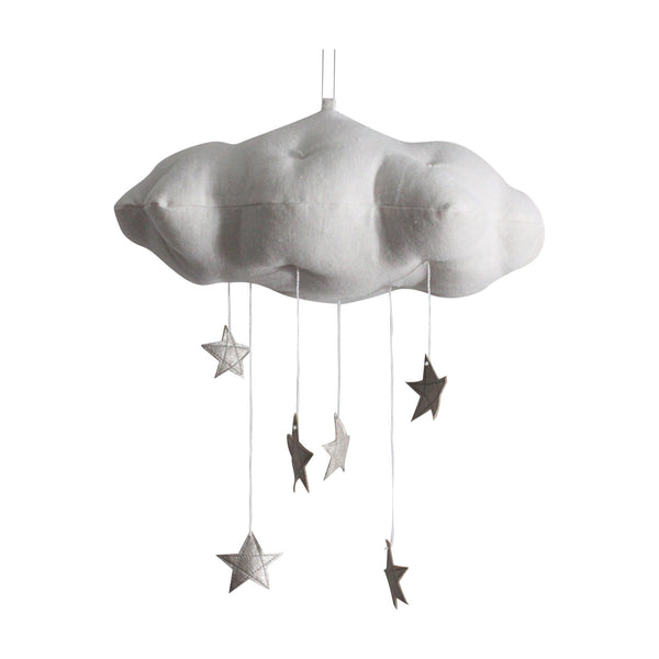 cloud mobile (white with silver stars)