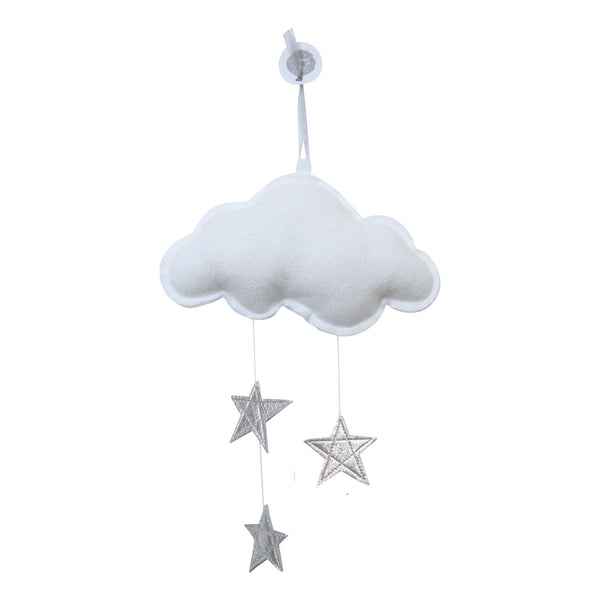wall cloud mobile (white silver stars)