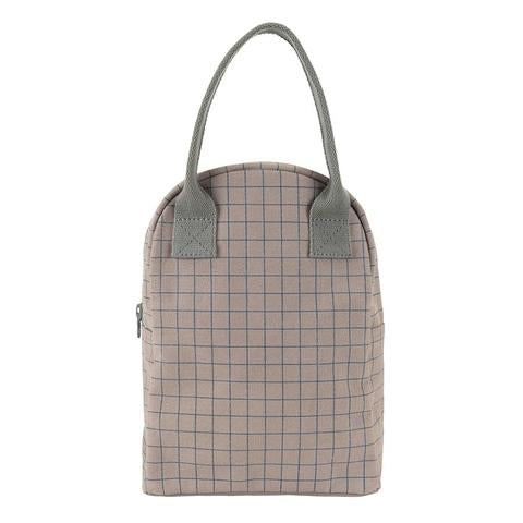 zipper lunch bag (grid)