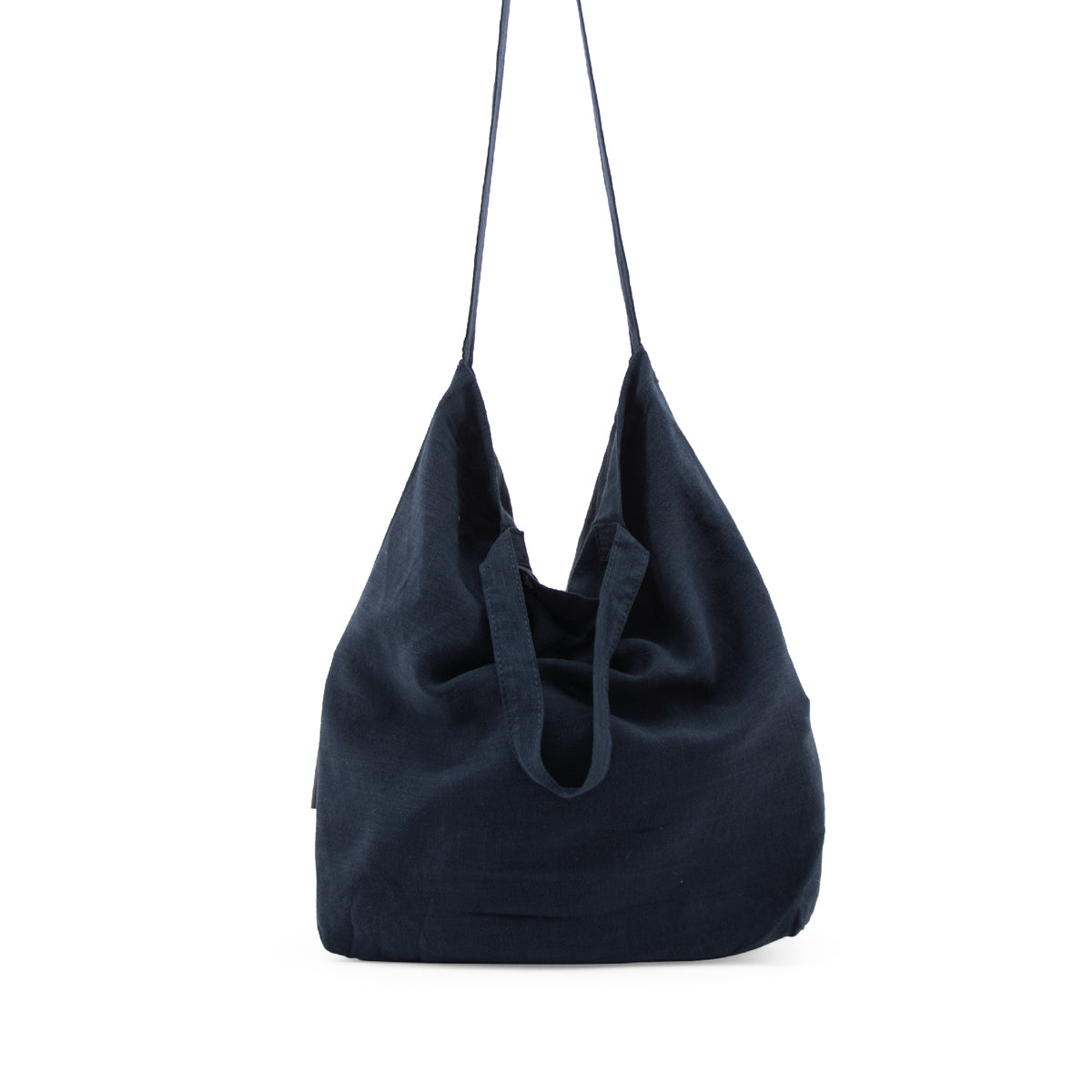 linen shopper - midnight blue