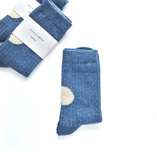 socks denim blue / gold glitter