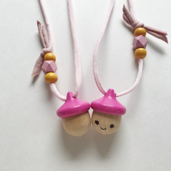 acorn necklace - bright pink