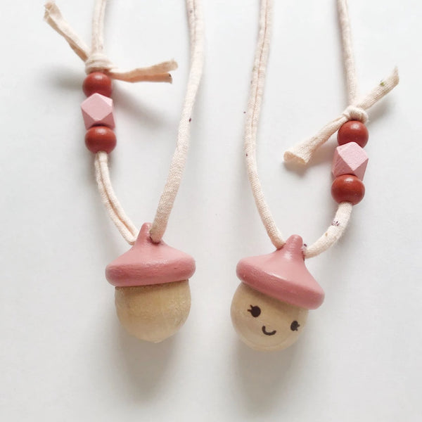acorn necklace - dusty coral