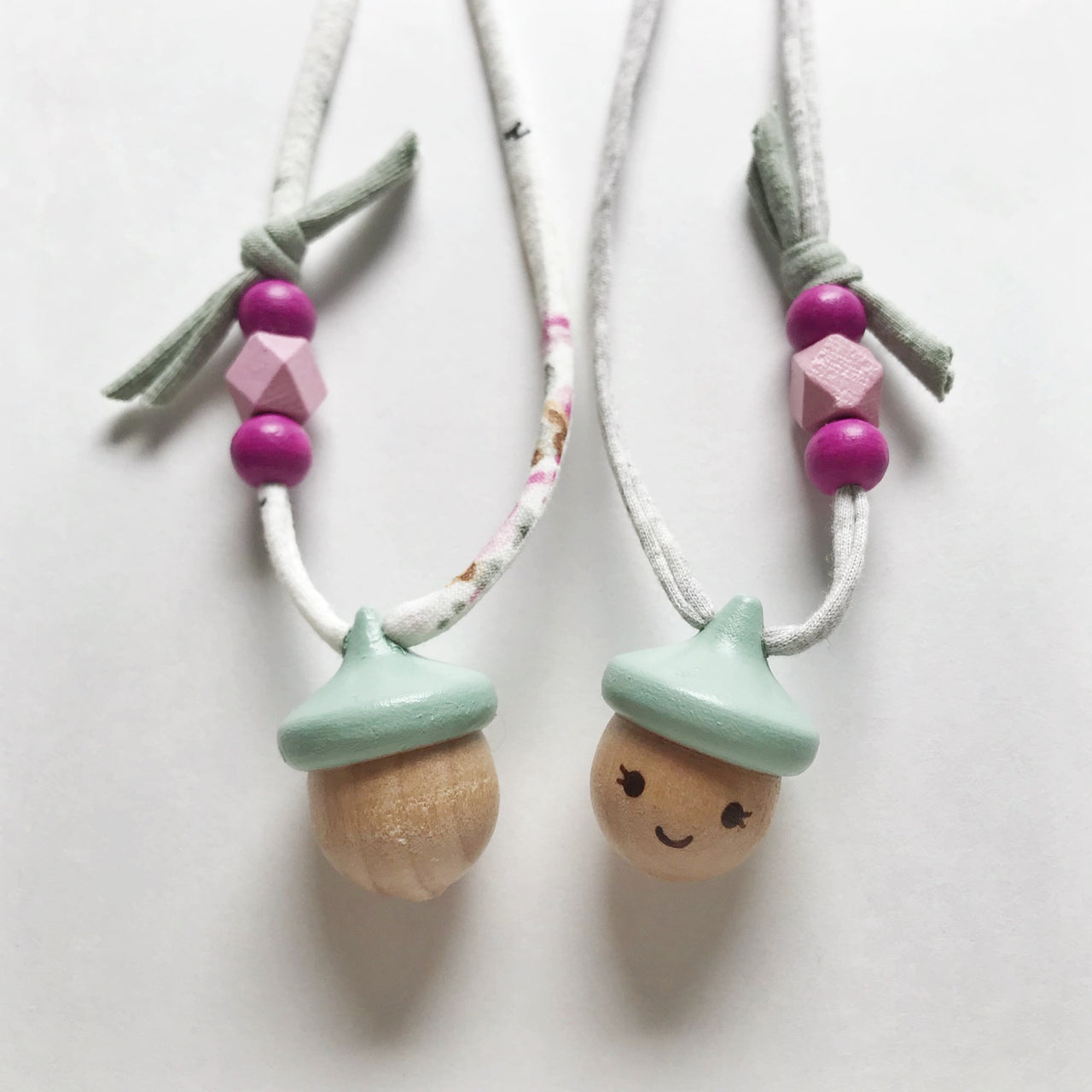 acorn necklace - sage