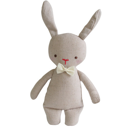 linen mini bunny rattle