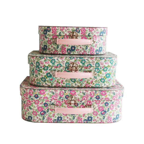 suitcase set 3pcs (floral teal pink)