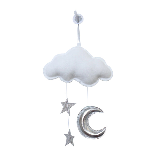 wall cloud mobile (white silver stars, silver moon)