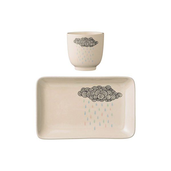 rain cloud plate with cup