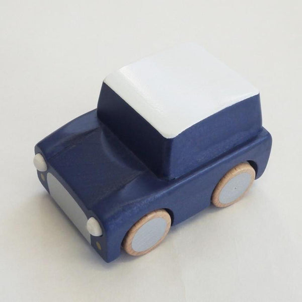 kuruma - classic wooden wind up car (blue)
