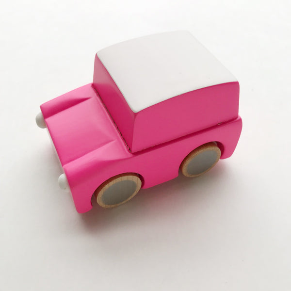 kuruma - classic wooden wind up car (pink)