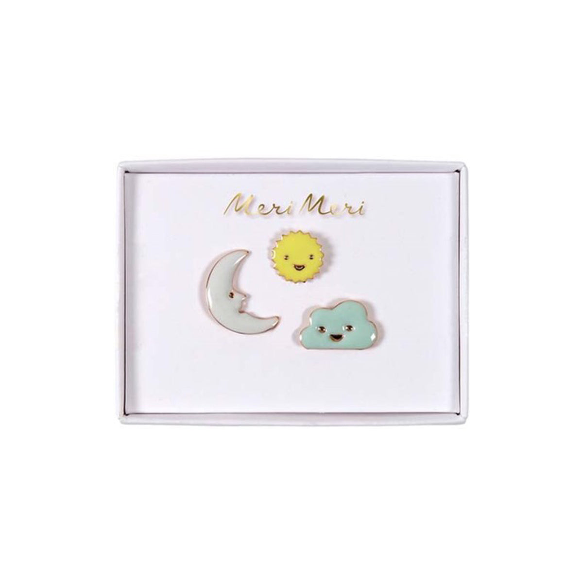 sun moon and cloud enamel pins