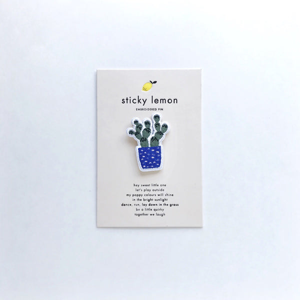 cactus embroidered pin