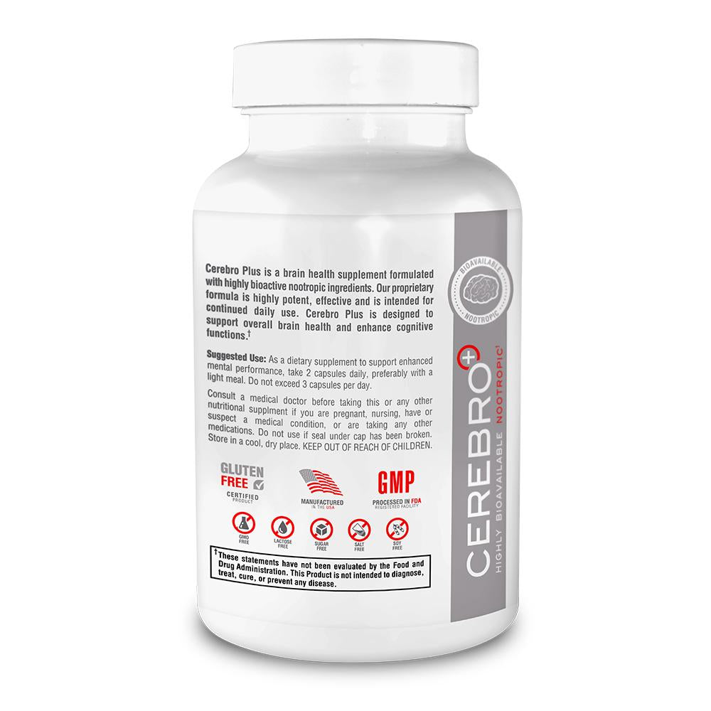 Cerebro Plus - Nopptropic Smart Drug | Gluten Free | Non-GMO | Made in USA |