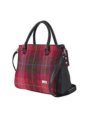 Mucros Weavers Women's Handbag - Emily Style - Wool Tweed and PU Leather Made in Ireland