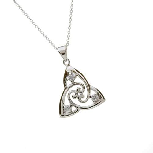 Celtic Designs Silver Trinity Knot Pendant with Inset CZs - PS00967