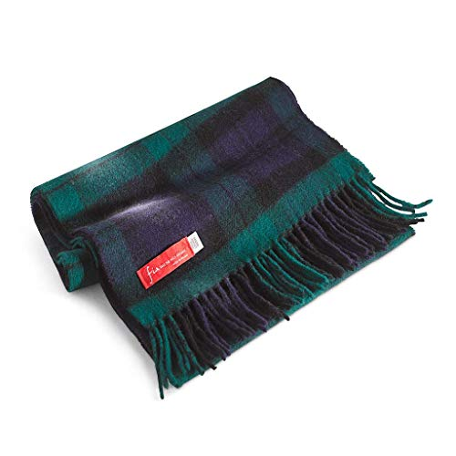 "FIA Soft and Warm Irish Wool Plaid Scarf for Men, 12"" Wide X 60"" Long"