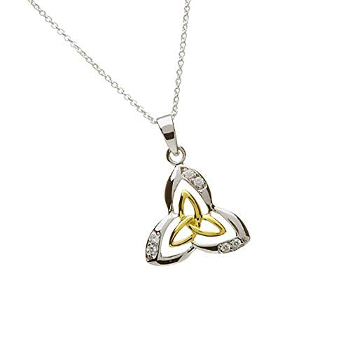 Celtic Designs Silver Two-Tone Trinity Knot Pendant with Inset CZs