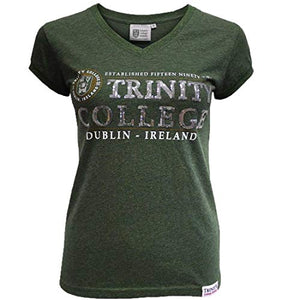 Trinity College Ladies Moss Green Sequined T-Shirt- Official