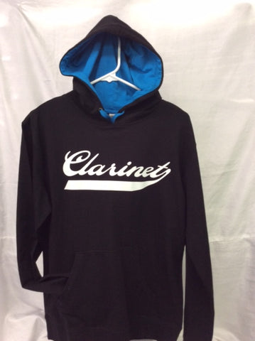 Clarinet Black & Turquoise Hooded Tee