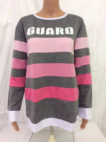 Guard Grey/Pink Stripes Long Sleeve Tee