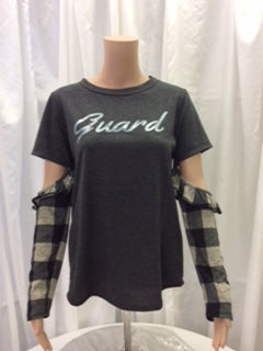 Guard Plaid Print Cut Out Sleeve Tee