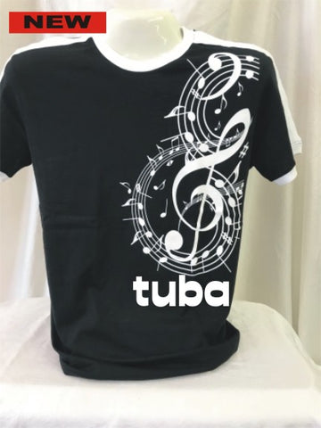 Tuba B & W Large Treble Clef Tee