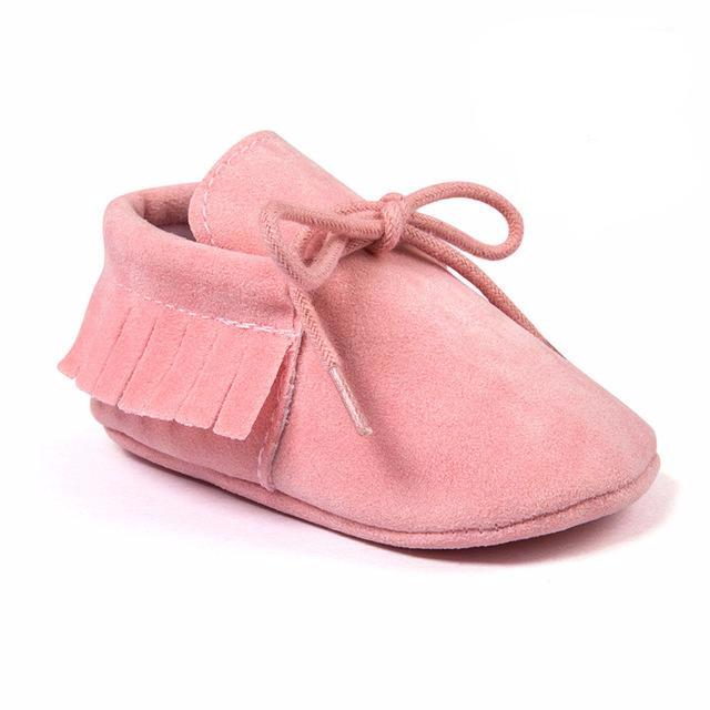 Mocassins à franges Rose pastel