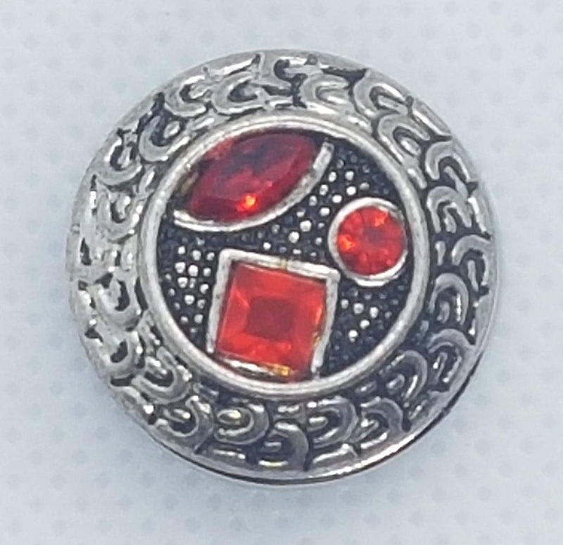 Antique snap with three red rhinestones