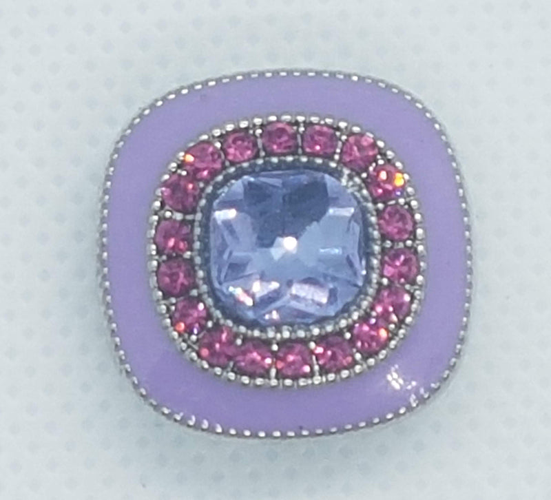 Square shaped snap with purple enamel and purple and pink rhinestones