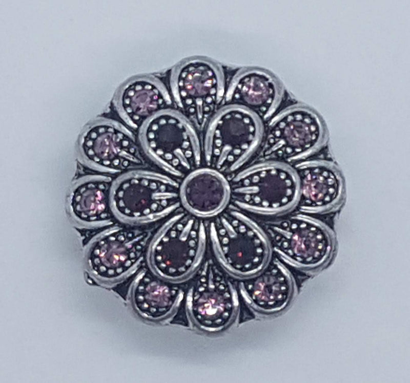 Flower with pink and purple rhinestones