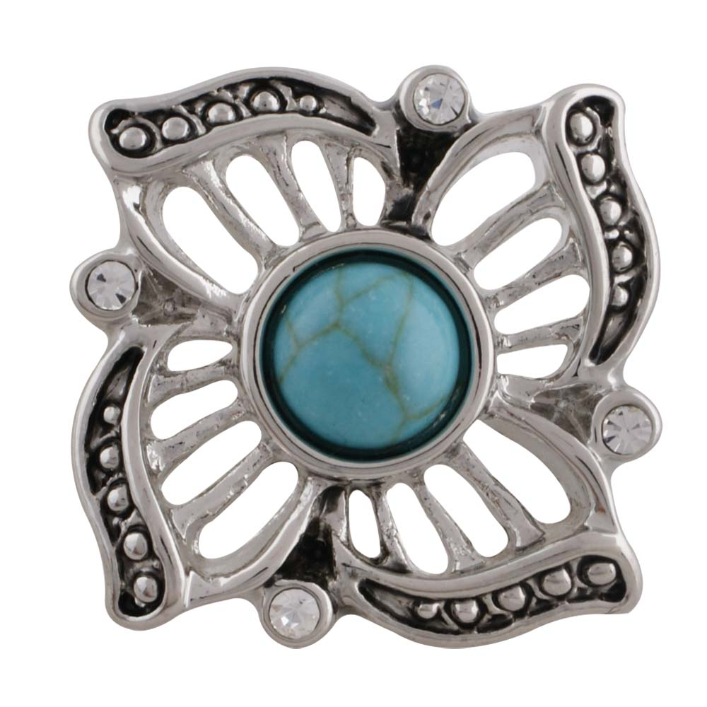Flower snap, antique silver plated with turquoise and rhinestone