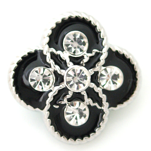 Irregular shaped snap with clear rhinestones and black enamel